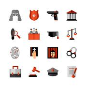 Legal Law Flat Icons Set Stock Illustration