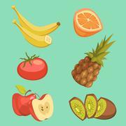 Healthy Food Cartoon Set - stock illustration