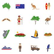 Australia Flat Icons Set - stock illustration