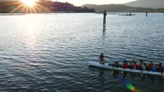 Motion of women rowing teams practicing at Rocky point park Stock Footage