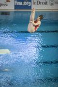 World class divers compete at the Canada Cup in Gatineau in April 2016 - stock photo