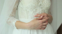 The bride is considering her ring on the wedding day Stock Footage