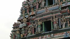 Exterior detail of the Hindu temple in the Indian quarter in Singapore. - stock footage
