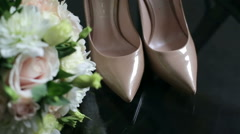Bride Shoes And Bouquet - stock footage