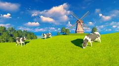 Stock Illustration of Grazing dairy cows and windmill