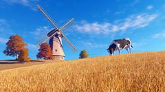 Autumn scenery with cow and windmill - stock illustration