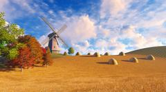 Rural landscape with windmill and haystacks - stock illustration