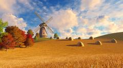 Windmill and haystacks on autumn fields - stock illustration
