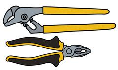 Wrench and combination pliers - stock illustration
