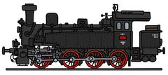 Vintage steam locomotive - stock illustration