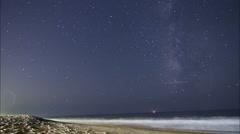 Malibu Beach Milky way Galaxy Zooms Stock Footage