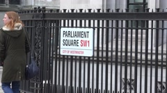 Parliament Square establishing shot with passersby, UK, london, April 2016 Stock Footage