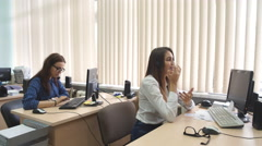 Customer service team woman call center smiling operator phone - stock footage