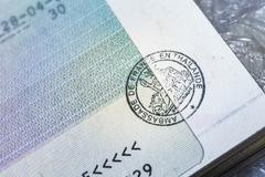 Passport stamp visa for travel concept background, Paris France - stock photo