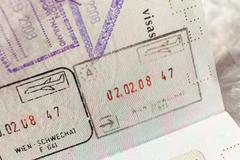 Passport stamp visa for travel concept background, Paris France - stock photo
