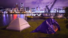 Homeless Campers With The City Of Portland In The Background Stock Footage
