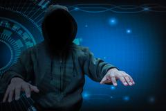 Hacker working on internet for cyber crime concept Stock Photos