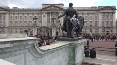 Buckingham palace with passersby London, UK, April 2016. - stock footage