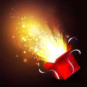 Open gift box with bright rays of light - stock illustration