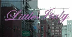 Welcome to Little Italy Sign in New York 4K Stock Video Stock Footage