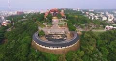 Aerial shot of Bagua Mountain Giant Buddha in Changhua, Taiwan Stock Footage