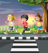 Three kids running along the road Stock Illustration