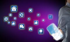 Smartphone interface application Stock Photos