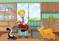 Vet healing wild animals in the clinic Stock Illustration