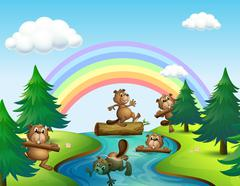 Beavers and logs by the river Stock Illustration