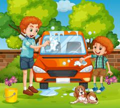Father and son washing car in the backyard Stock Illustration
