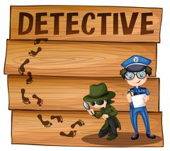 Detective and policeman working together Stock Illustration