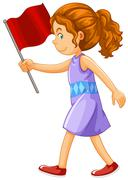 Woman holding red flag Stock Illustration