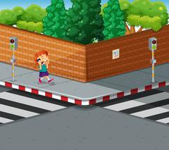 Girl on the pavement talking on the phone Stock Illustration