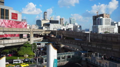 Traffic transportation in Bangkok downtown MBK area on ground main junction Stock Footage