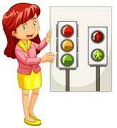 Teacher explaining traffic signals Stock Illustration