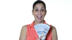 Hispanic female holding money Stock Footage