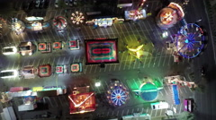 Aerial view of Fair grounds and amusement park ride Stock Footage