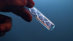 Rotating DNA molecule in glass tube in hand of scientist, looped Stock Footage