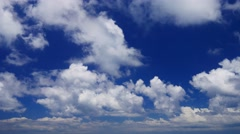 Real time UHD shot of the deep blue cloudy sky Stock Footage
