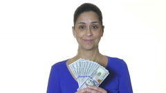 Hispanic female holding one hundred dollar bills Stock Footage