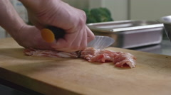 Cutting Bacon Stock Footage