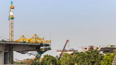 Express way construction site in Bangkok Stock Footage