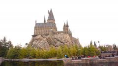 Facade of the hogwarts castle in Universal studio, Japan Stock Footage