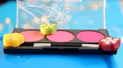 Makeup - cosmetics - palette - closeup 02 Stock Footage