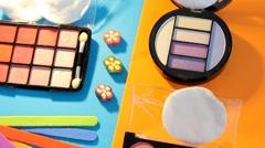 Makeup - cosmetics - palette - box - closeup 08 - stock footage