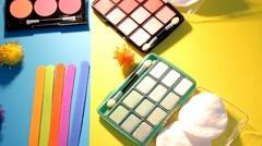 Makeup - cosmetics - palette - closeup 05 Stock Footage