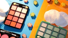 Makeup - cosmetics - palette - pink - purple - closeup 02 - stock footage