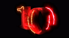 Red flame energy chart countdown digits form 10 to 1. Top ten fire hot numbers - stock footage