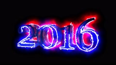 2016 year digits Blue and Red 3D animation in black background for overlay 4K - stock footage