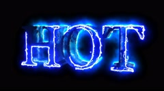 Blue flame energy Hot word overlay 4k 3D animation - stock footage